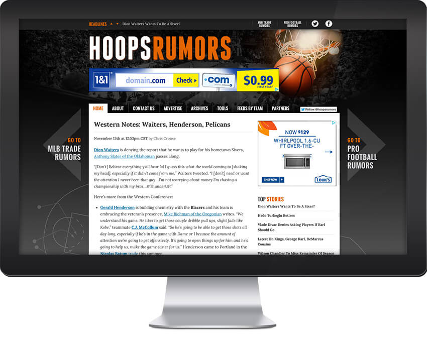 Hoops Rumors Wordpress Web Design
