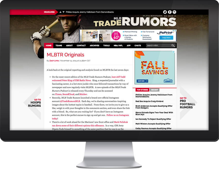 MLB Trade Rumors Web Design