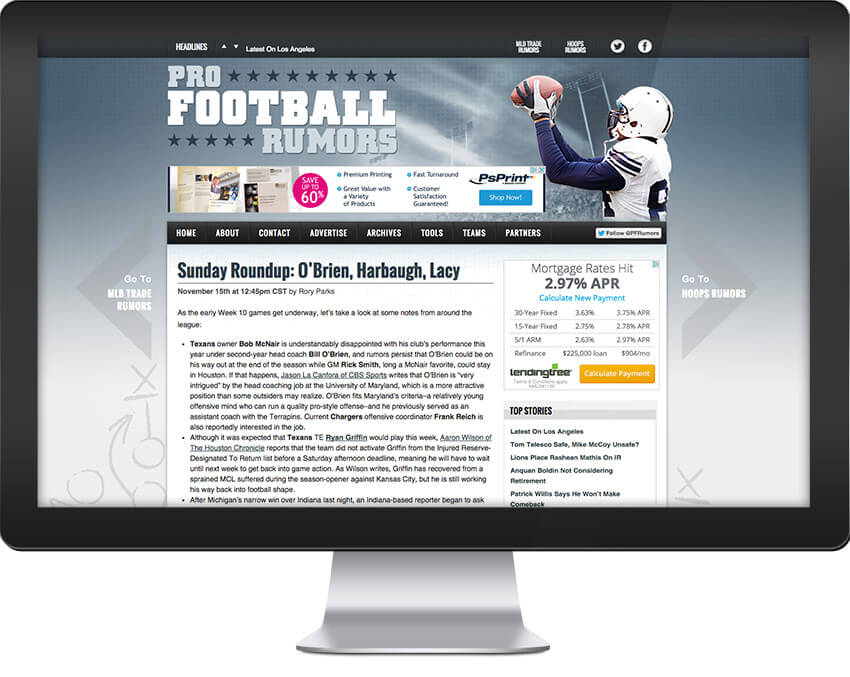 Pro Football Rumors Web Design